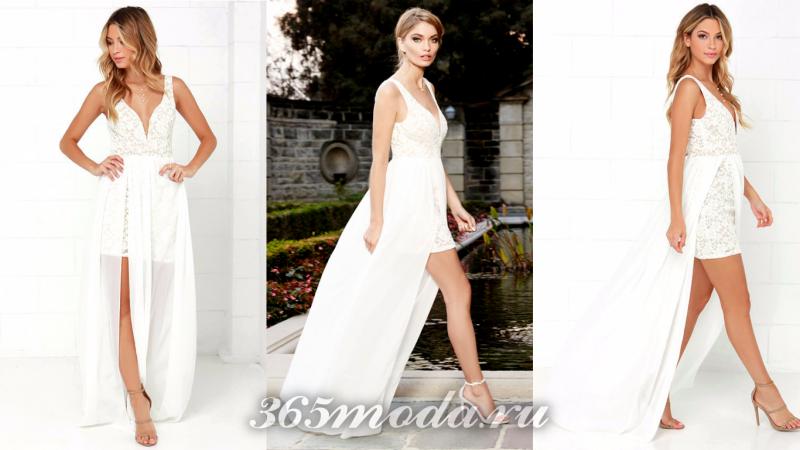 Длинное белое вечернее платье