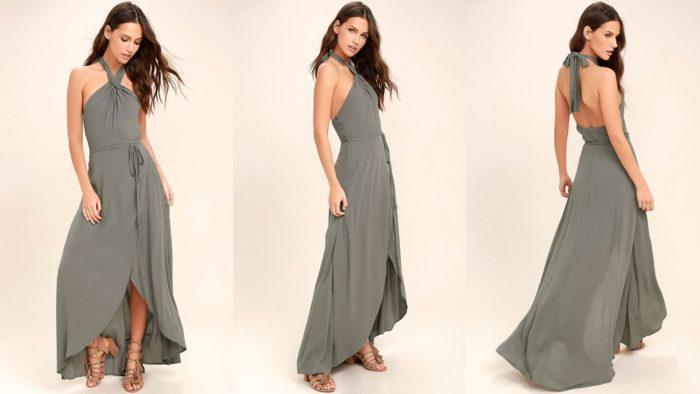 Вечерние платья: Бронзовое длинное