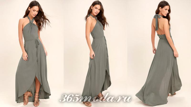 Бронзовое длинное вечернее платье 2018-2019