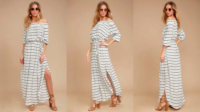 Вечерние платья: Полосатое длинное