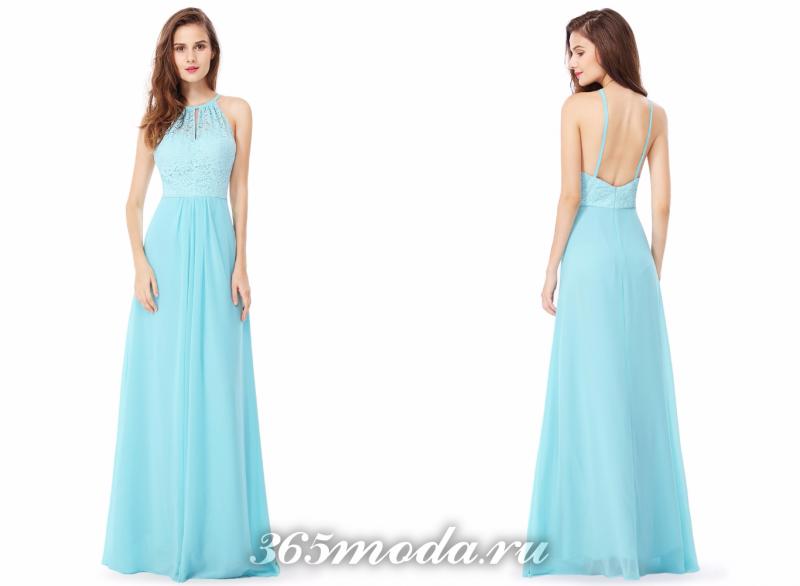 Голубое красивое вечернее платье