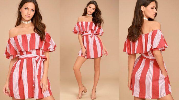 Короткое вечернее платье с красной полосой