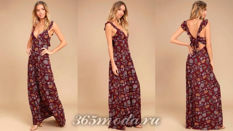 Длинное вечернее платье с принтом