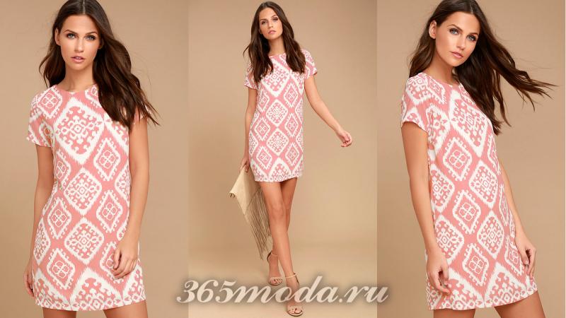 Розовое короткое вечернее платье 2018-2019