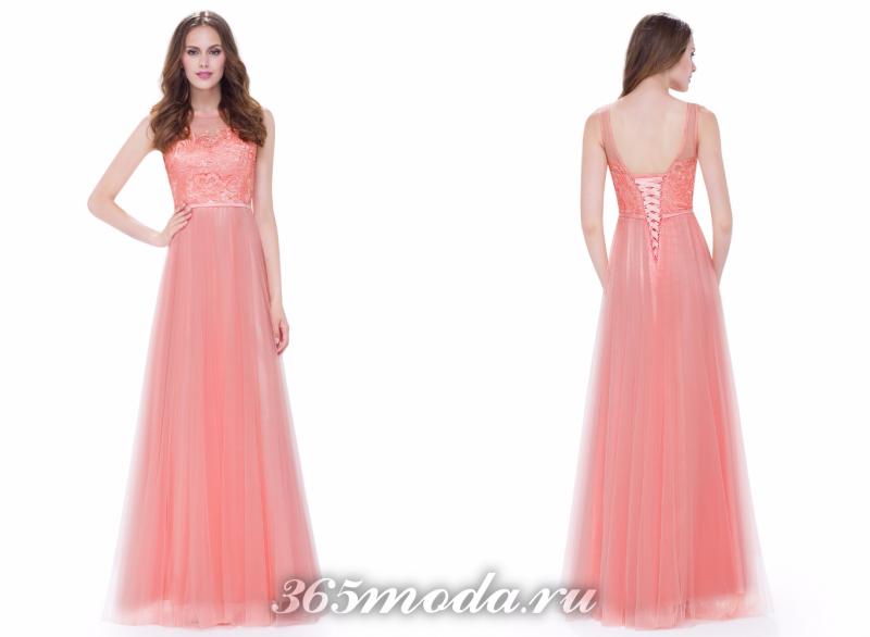 Розовое красивое платье 2018-2019