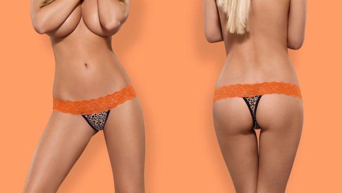 Оранжево-черные сексуальные стринги