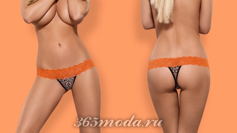 Оранжево-черные сексуальные стринги 2018