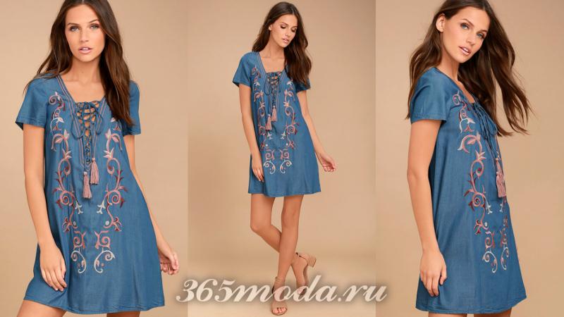 Синее короткое вечернее платье 2018-2019