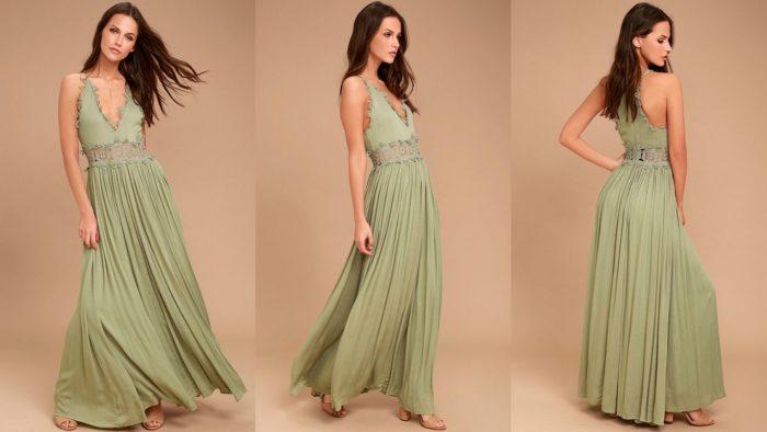 Вечерние платья: Зеленое длинное