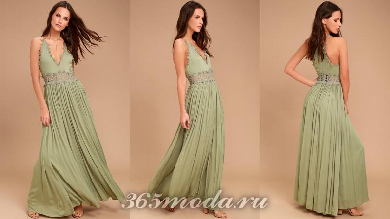Зеленое длинное вечернее платье