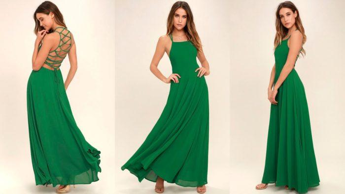 Вечерние платья: Темно-зеленое длинное
