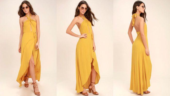 Вечерние платья: Желтое длинное