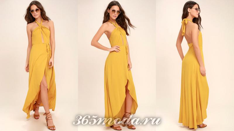 Желтое длинное вечернее платье