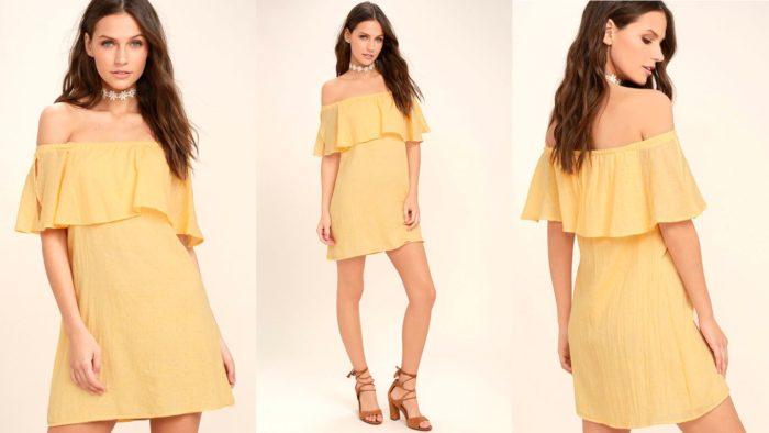 Желтое короткое вечернее платье 2019-2020