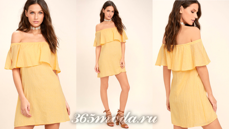 Желтое короткое вечернее платье 2018-2019