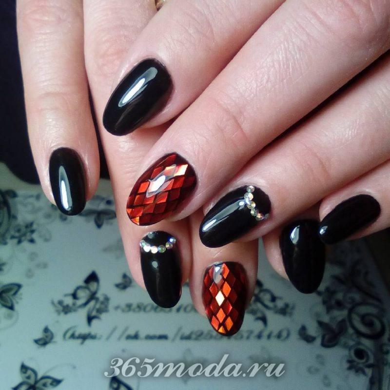 дизайн красно черных ногтей френч