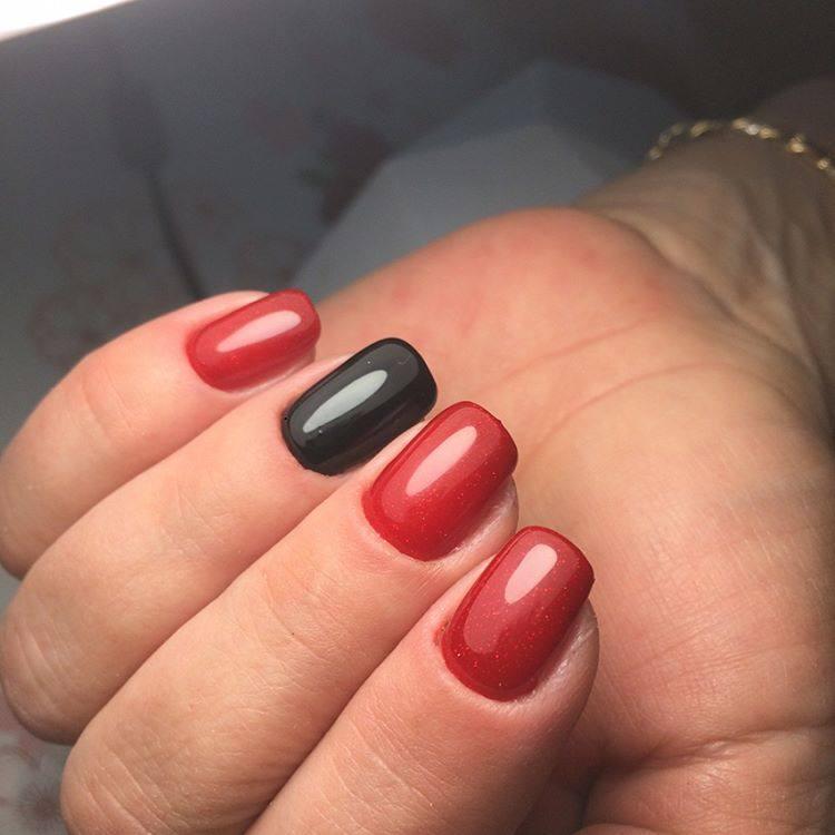черно красный френч дизайн ногтей фото