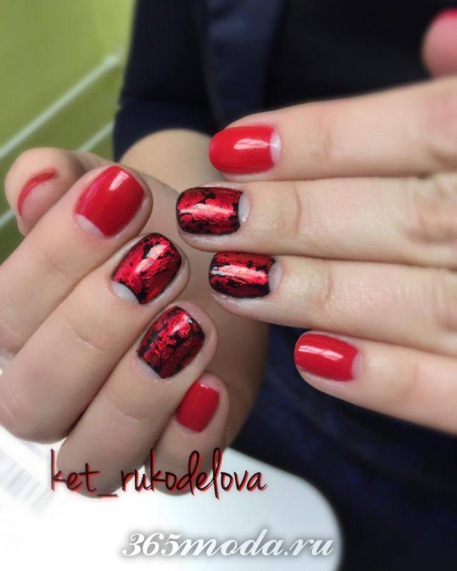 красно черный дизайн ногтей френч 2018-2019