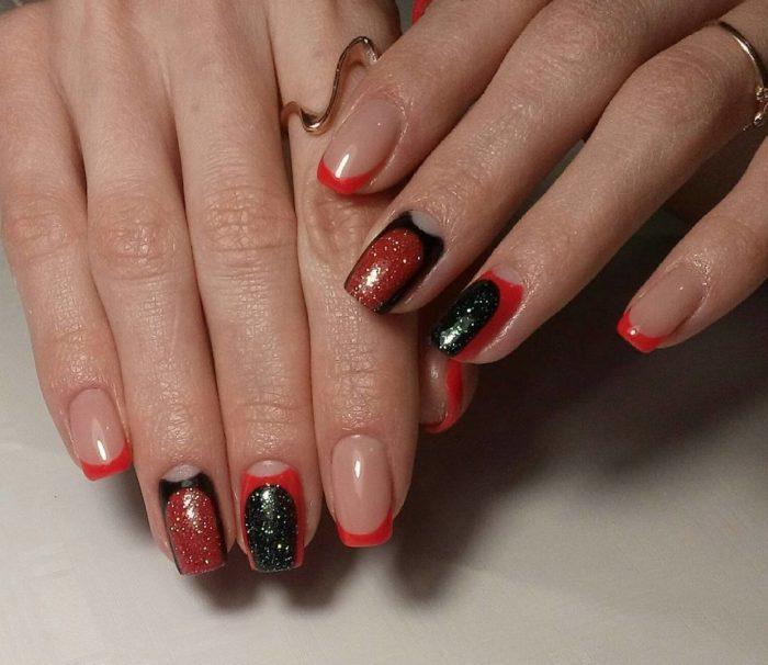 дизайн ногтей френч в красно черном цвете