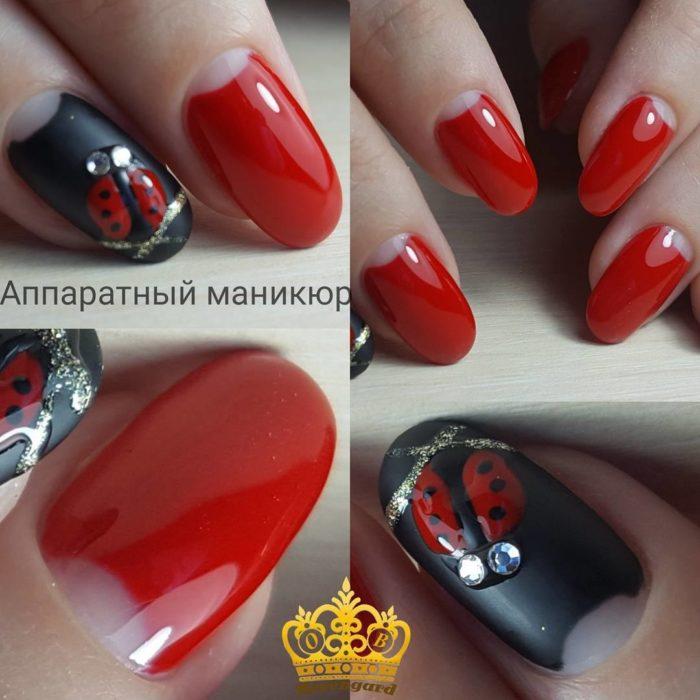 фенчи дизайн ногтей красный с черным