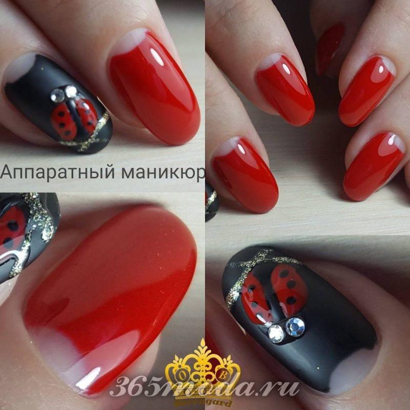 фенчи дизайн ногтей 2018-2019 красный с черным
