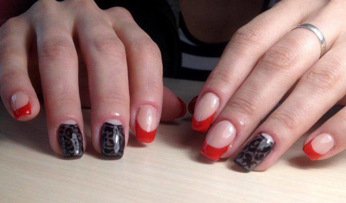 дизайн ногтей черно красный френч