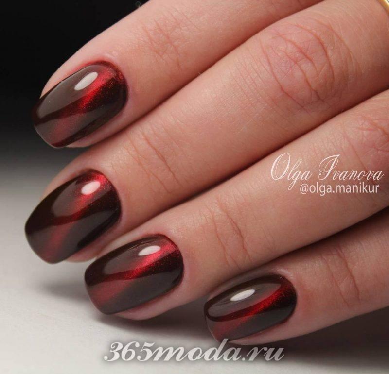дизайн ногтей красный с черным омбре