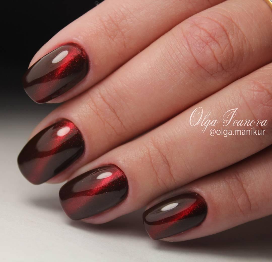 Дизайн ногтей шеллак красный с черным дизайн