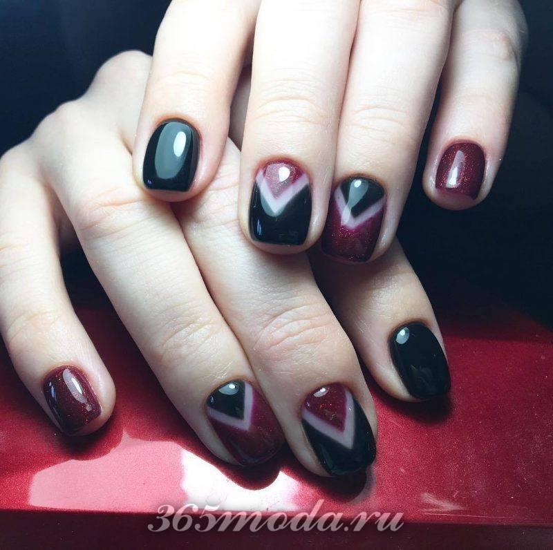 красно черный дизайн ногтей омбре гель