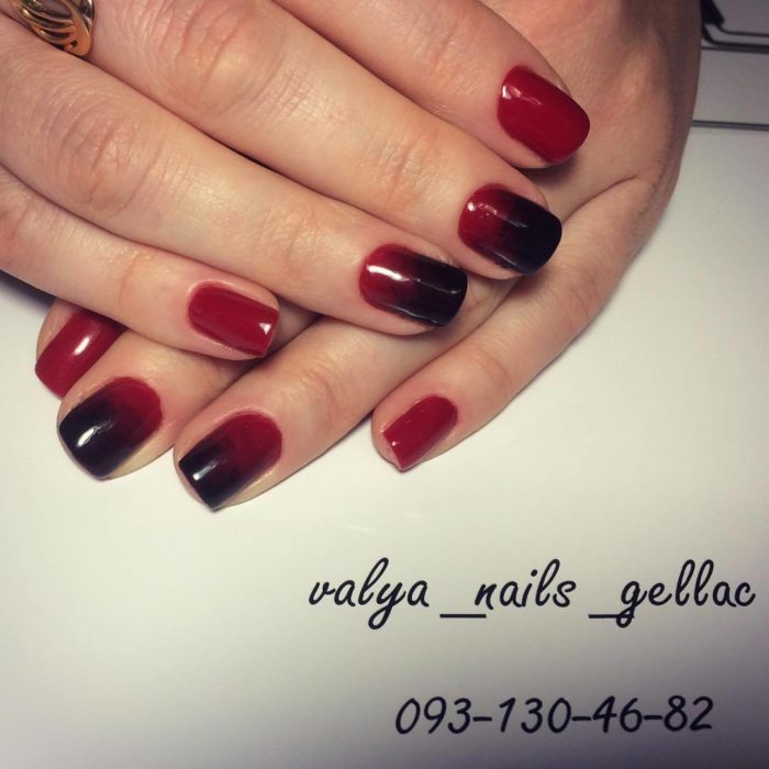 дизайн ногтей омбре в красно черном цвете