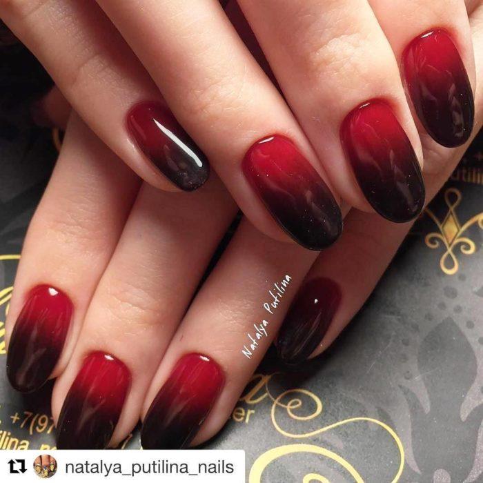 дизайн ногтей омбре красный с черным фото новинки