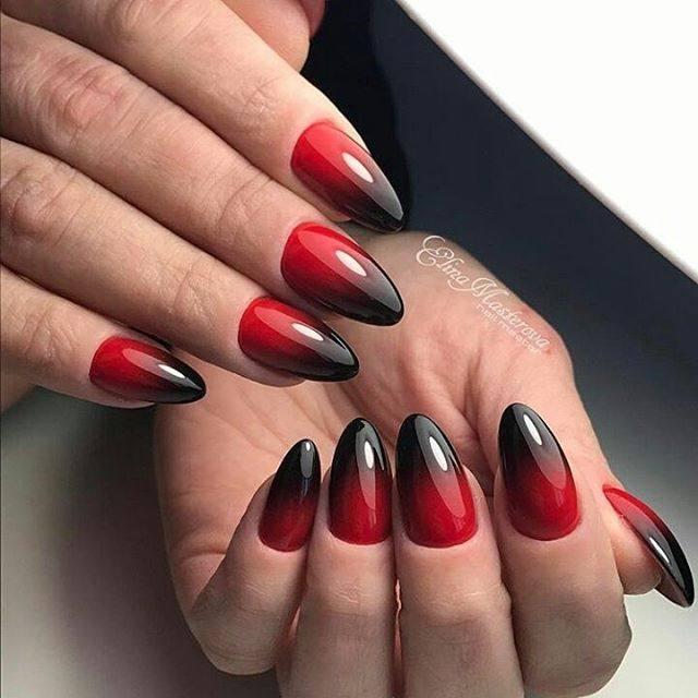 дизайн острых ногтей красный с черным