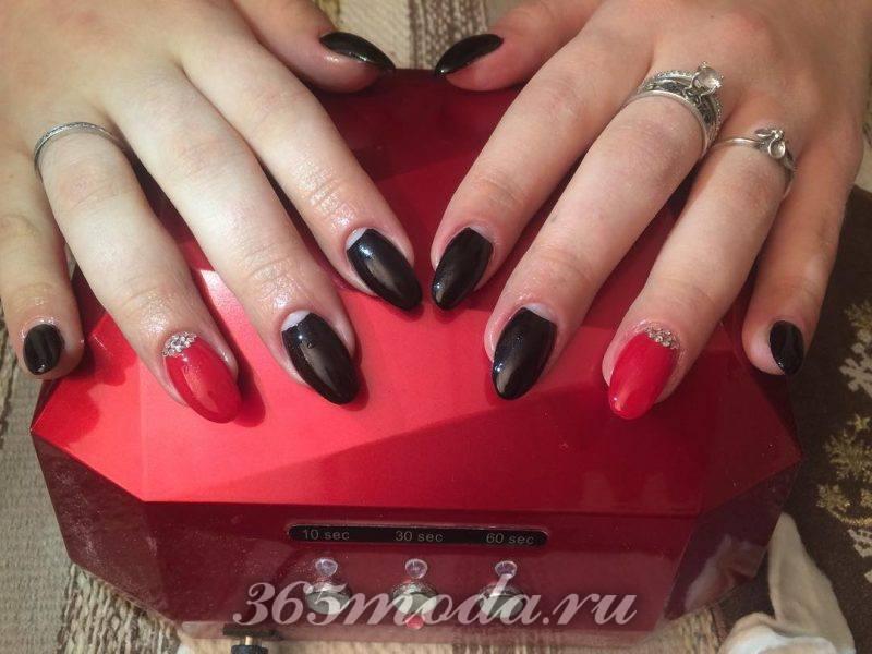 дизайн красно черных острых ногтей фото 2018-2019