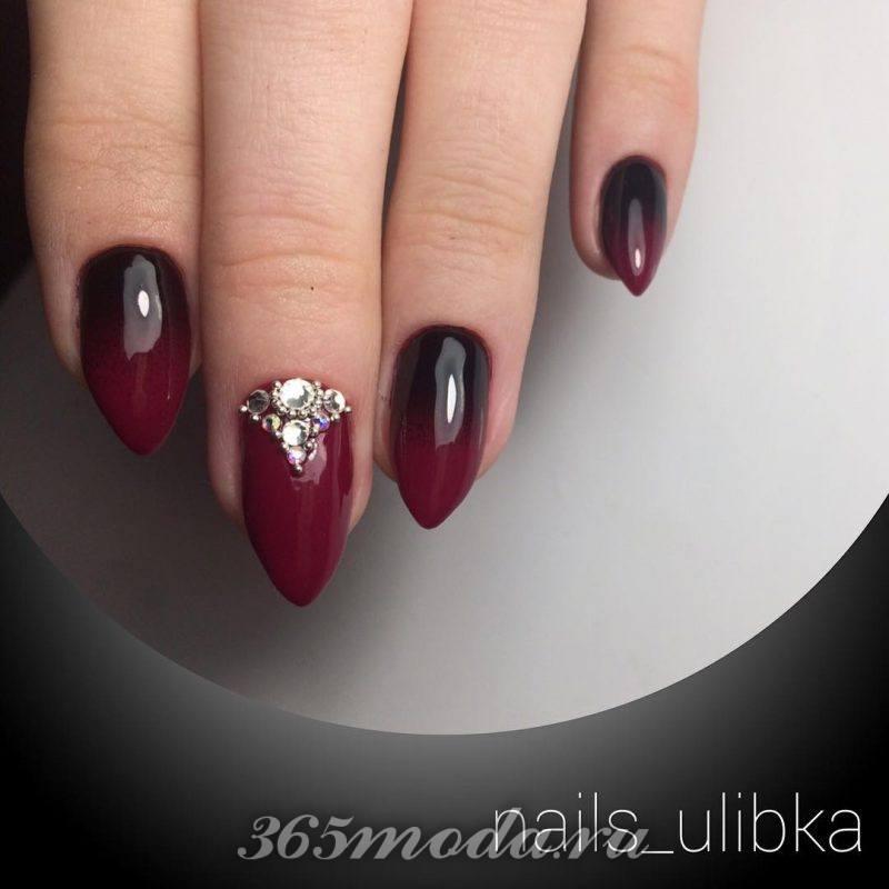 красно черный дизайн острых ногтей гель