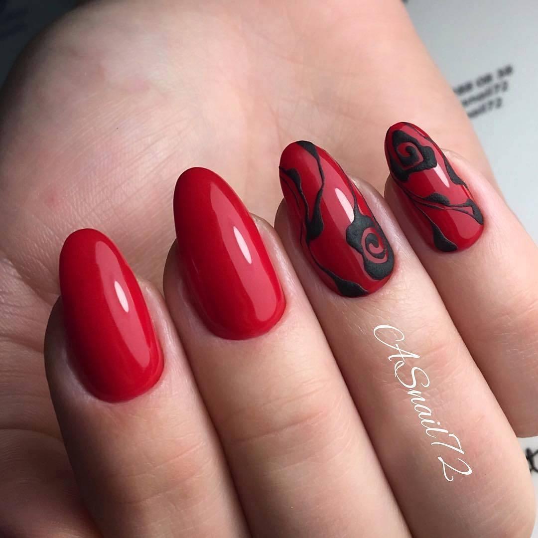 Фото ногтей красного и черного оттенка