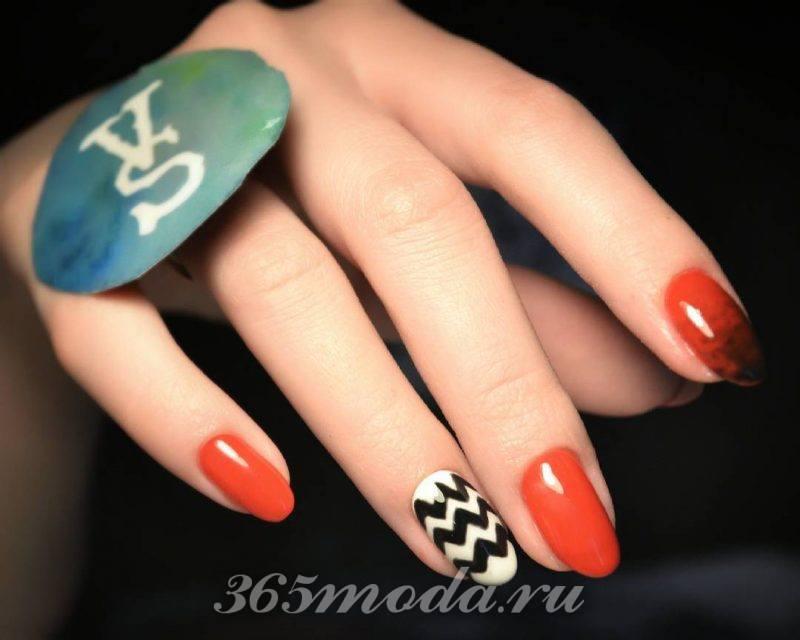 черно красный дизайн ногтей с рисунком фото