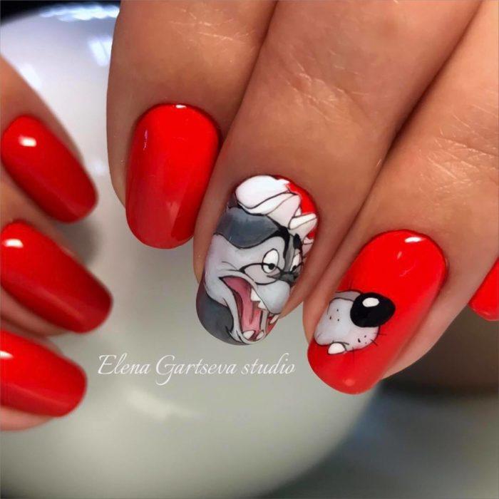 красно черный дизайн ногтей с рисунком волк