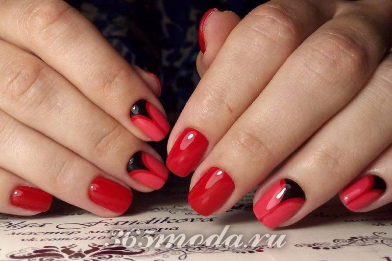 дизайн ногтей красный черный риснуок