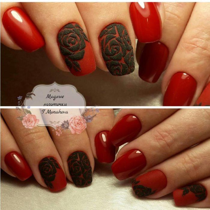 дизайн ногтей 2020-2021 красный с черным рисунком