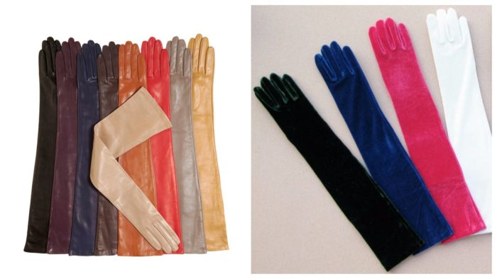 яркие длинные перчатки 2019-2020