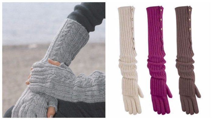вязанные длинные перчатки 2019-2020