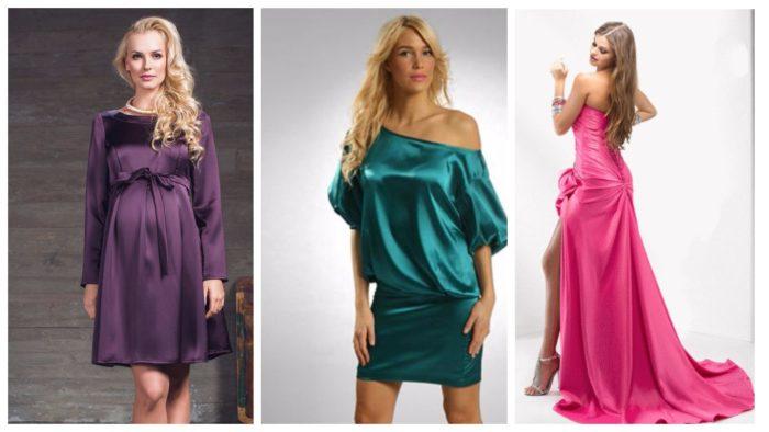 модные платья из атласа
