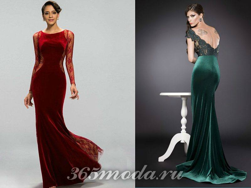 модные платья из бархата