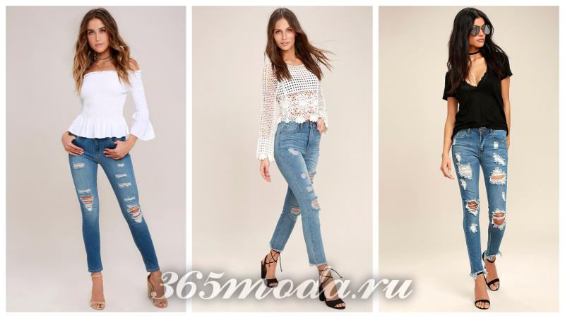 модные джинсы сезона 2018-2019: рваные синие