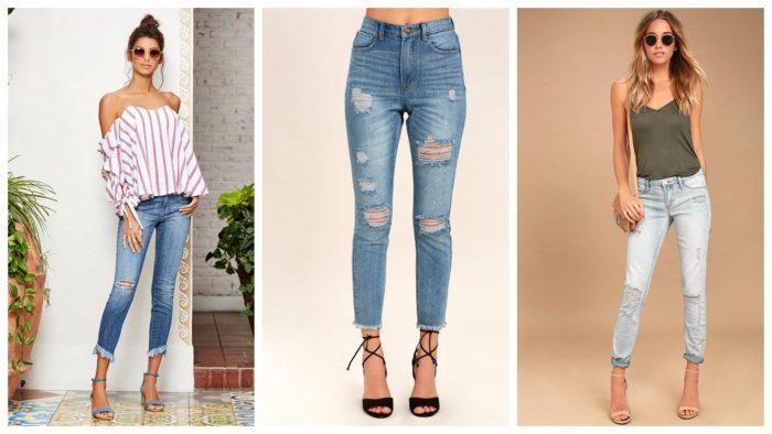 модные укороченные джинсы женские рваные 2019-2020