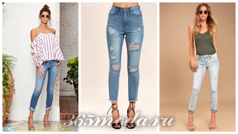 модные укороченные джинсы женские рваные 2018-2019