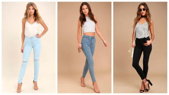 модные джинсы сезона 2019-2020: бирюзовые с рваным коленом, синие, черные