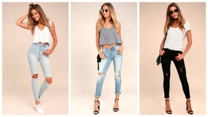 модные рваные джинсы на коленях 2019-2020