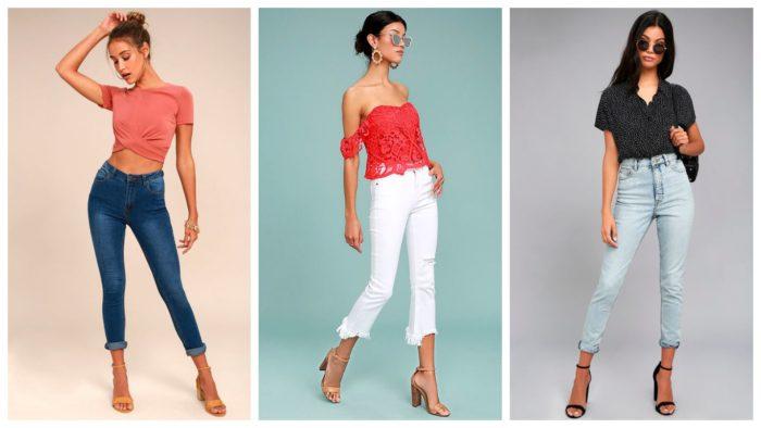 женские модные укороченные джинсы 2019-2020: синие, белые, голубые