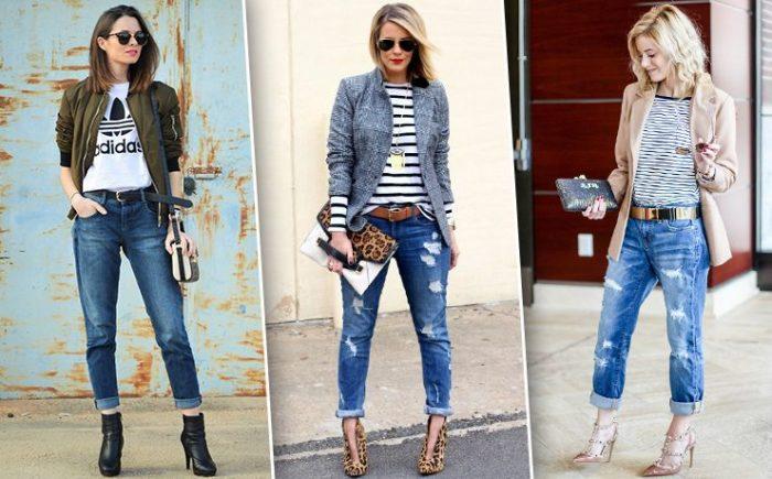 модные рваные джинсы с подворотом 2019-2020